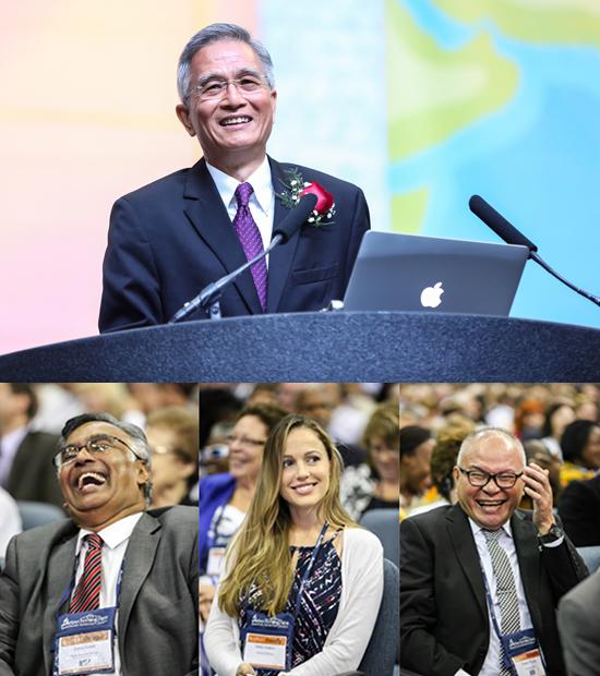 Ng predigt, drei Hörer lachen